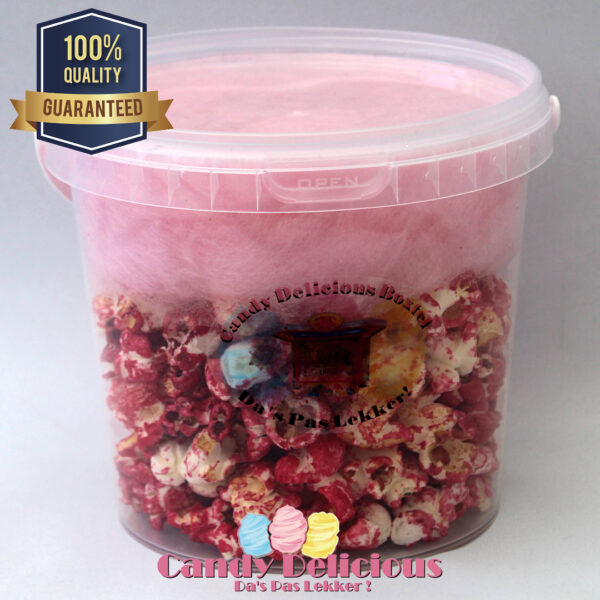 Candy Delicious Popcorn Roze Suikerspin Roze 1 Liter
