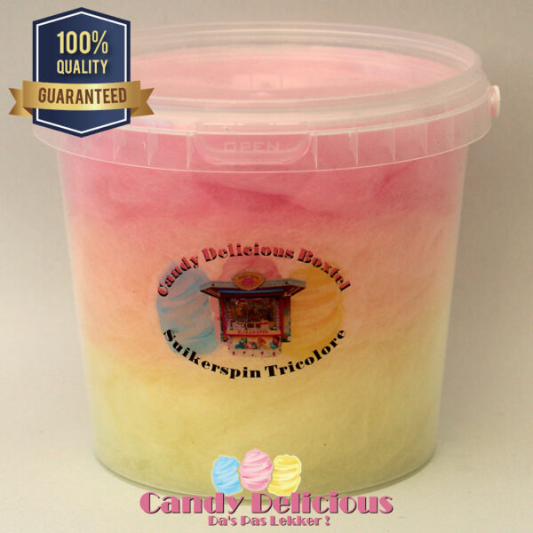 Candy Delicious Suikerspin Tricolore Geel Oranje Roze 1 Liter